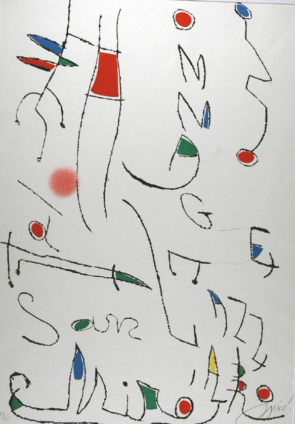 Acquaforte Acquatinta di Joan Mirò. Tirata a 60 esemplari numerati e firmati a matita