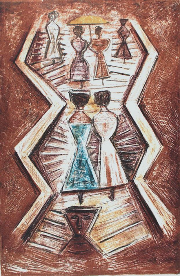 Massimo Campigli litografia a colori. Titolo: La Scalinata. Tirata a 95 esemplari numerati e firmati a matita